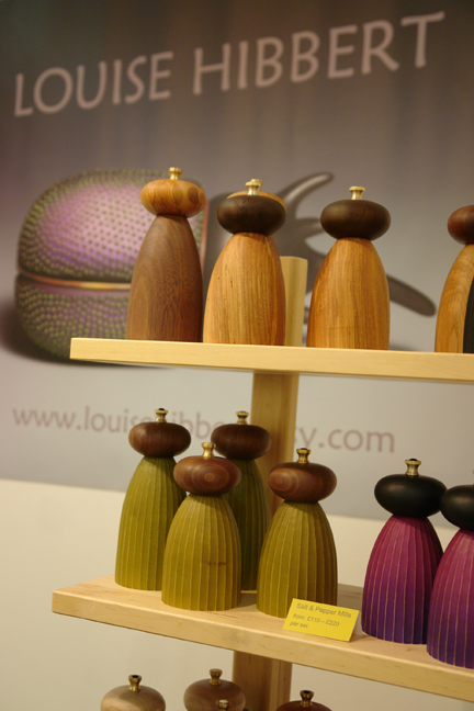 display of Louise Hibbert's wooden salt &amp; pepper mills