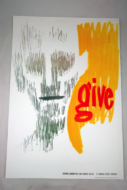 FHK Henrion Oxford Committee for Famine Relief 'Give' poster from a collection bought at auction by H is for Home