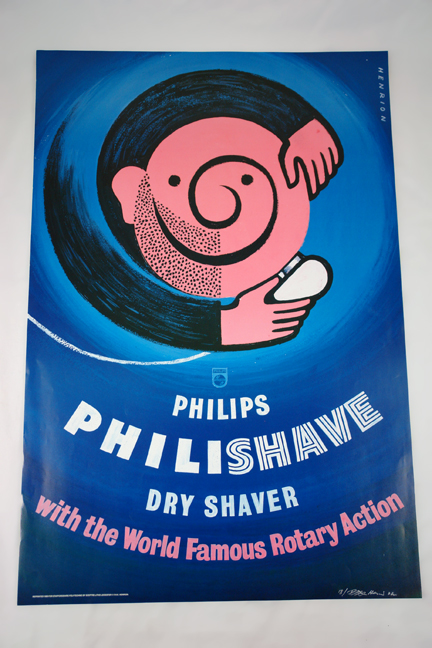 FHK Henrion Philips 'Philishave' poster from a collection bought at auction by H is for Home