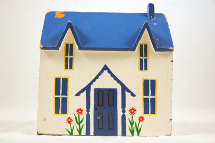 vintage handmade hand painted wooden house with blue roof & door