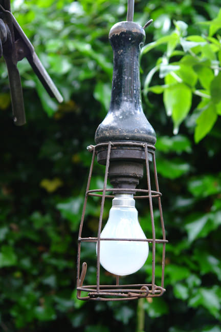 detailed view of vintage industrial light