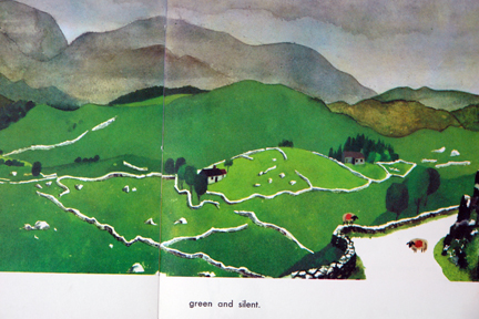 "page from vintage book, ""This is Ireland"" by Miroslav Sasek featuring rolling green fields and sheep"