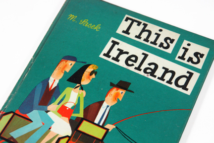 "detail of vintage book cover, ""This is Ireland"" by Miroslav Sasek"