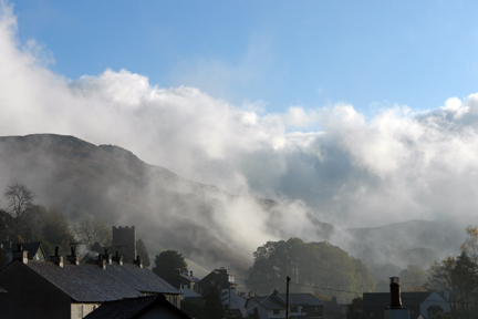 Chapel and roofs in the mist, Chapel Style, Little Langdale, Lake District, Cumbria