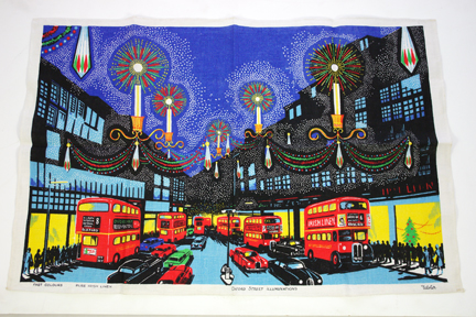 vintage teatowel of Oxford Street lights in London at night