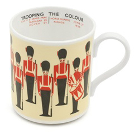 ceramic mug illustrated with the Trooping of the Colour designed by Aldo Cosomati