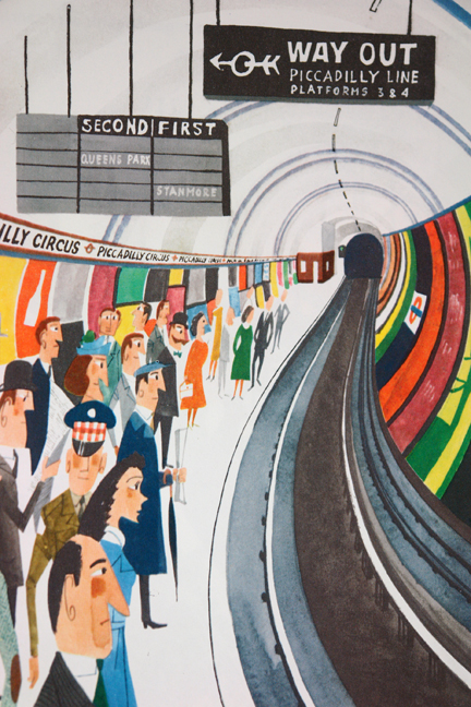 illustration of London Underground tube platform from vintage &quot;This is London&quot; book by Miroslav Sasek
