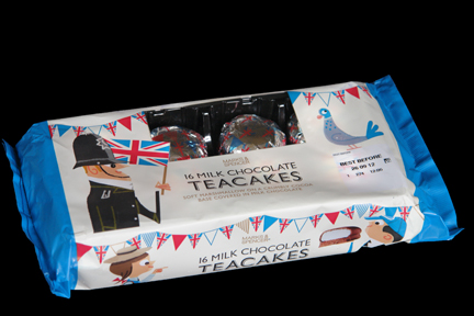 Marks and Spencer chocolate teacake packaging decorated with illustrations of British bobby, Union Jack flags, school children, birds and bunting