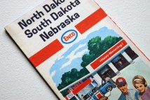 vintage Enco travel map of the Dakotas and Nebraska from the 1960s