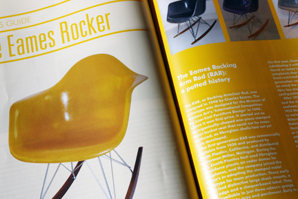 image of the 'image of a bright yellow Eames rocking chair in the 1st edition of Midcentury Magazine