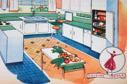 "Advertisement for Advertisement for Cuisine Idéale kitchens from a vintage 1950s French ""L'Echo de la Mode"" magazine"