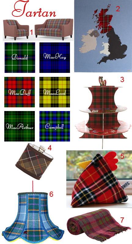 Mood board of tartan homewares