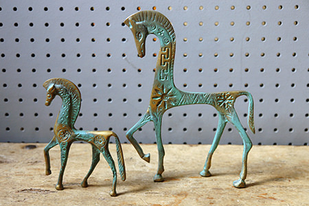 Pair of brass verdigris horse figures