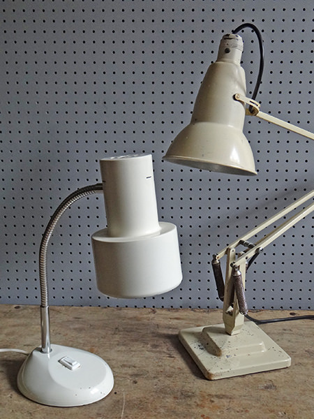 Two white vintage Herbert Terry designed desk lamps