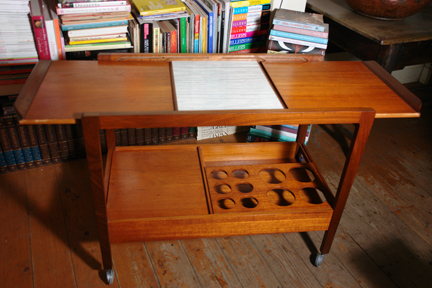 vintage 1950s teak drinks trolley