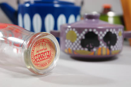 view of the base of a vintage milk bottle soon to be available on the H is for Home webshop