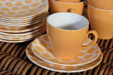 detail of vintage yellow polka dotted Tams tea set