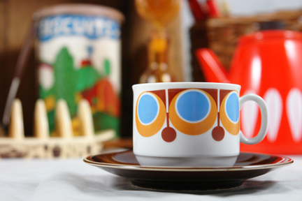 selection of recently acquired vintage shop stock for H is for Home including a set of four 1970s pottery cups & saucers