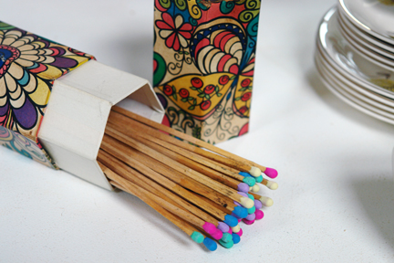 vintage fire lighting matches with colourful tips in original hexagonal shaped, cardboard box