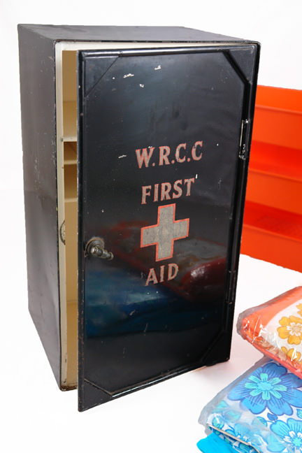 large vintage black painted first aid tin