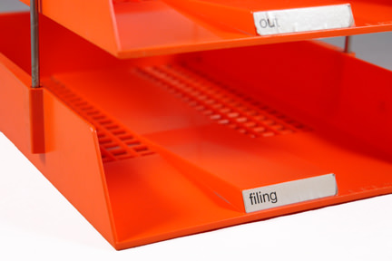 orange plastic, 3-tier office filing tray