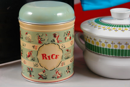 vintage 1950s Worcester Ware rice storage tin