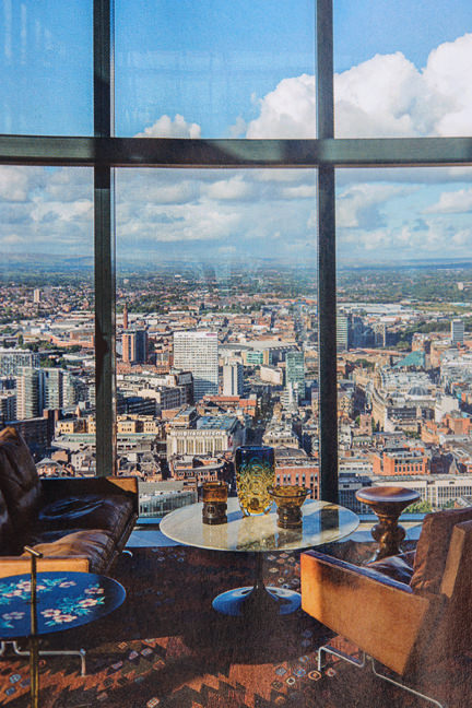 page showing view across Manchester from the Beetham Tower featured in the Elle Decoration September 2013 magazine