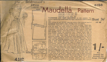 "vintage 1950s ""Maudella"" paper pattern of a bridesmaid's dress"