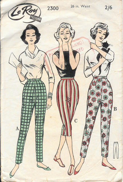 "vintage 1950s ""Le Roy"" paper pattern of women's Capri pants and pedalpushers"
