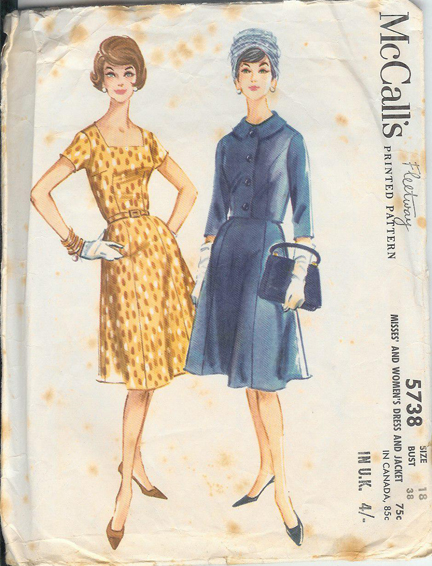 "vintage 1950s McCall's paper pattern for women's ""New Look"" dress and jacket"