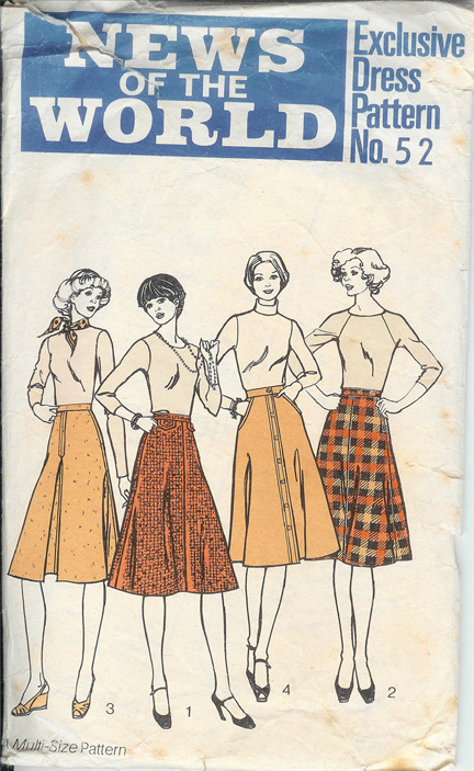 vintage paper pattern from the News of the World for a woman's blouse and midi skirt