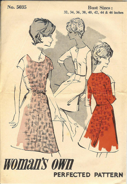vintage 1950s paper pattern given away with Woman's Own magazine