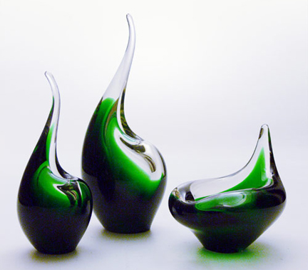 Collection of 'Flamingo' vases designed by Per Lütken for Holmegaard