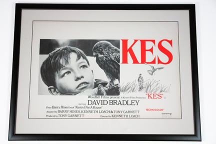 Framed original vintage 1970s 'Kes' film poster