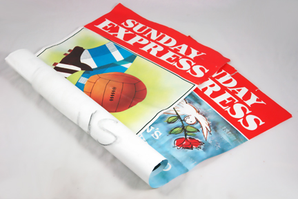 rolled up vintage Sunday Express poster