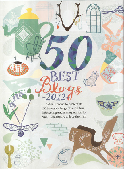 August 2012 Homes &amp; Antiques magazine clipping featuring H is for Home in the 50 Best Blogs 2012