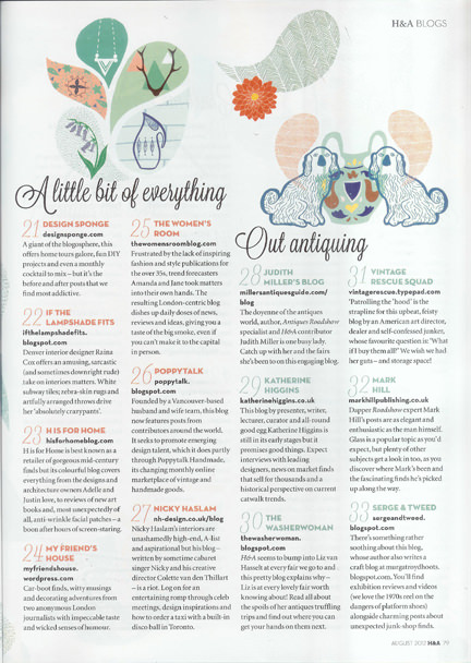 August 2012 Homes & Antiques magazine clipping featuring H is for Home in the 50 Best Blogs 2012