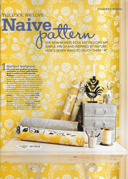 September 2012 Country Homes & Interiors magazine cutting