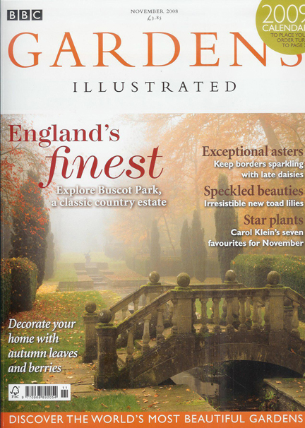 November 2008 BBC Gardens Illustrated magazine cover