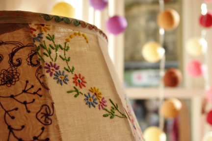 detail of handmade patchwork lampshade available at Radiance lighting shop in Hebden Bridge