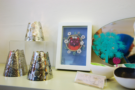 selection of items from various designer/makers available at Radiance lighting shop in Hebden Bridge
