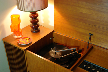 vintage 1960s Garrard radiogram in teak cabinet with lid up showing record player