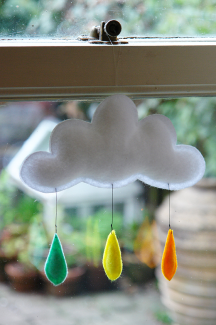 detail of handmade raincloud mobile hanging from our kitchen window