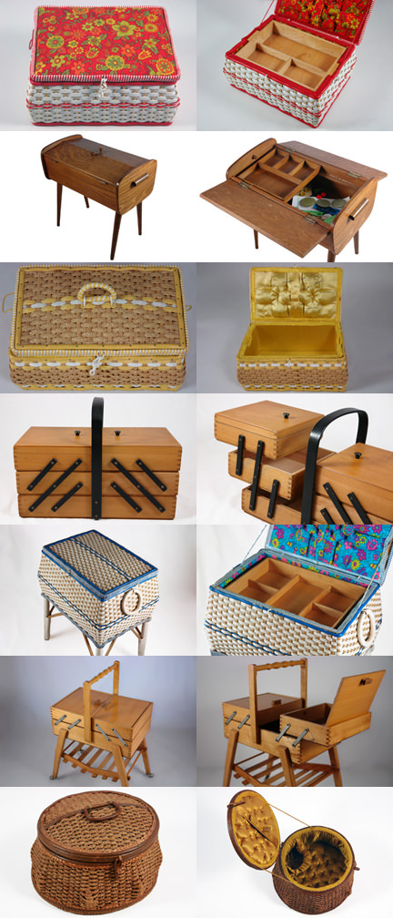 montage of vintage sewing boxes sold by H is for Home