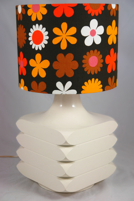 "large white vintage geometric table lamp base topped with a vintage Genia Sapper ""Heidi"" fabric shade"