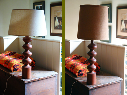 diptych image of vintage Danish teak lamp base with two different shades