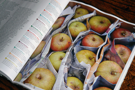 page in a magazine showing apples in a wooden box wrapped in paper