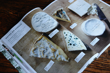 page in a magazine showing a selection of cheeses