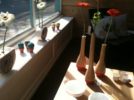 window sill in Snug Gallery, Hebden Bridge showing various art &amp; craft items available for sale