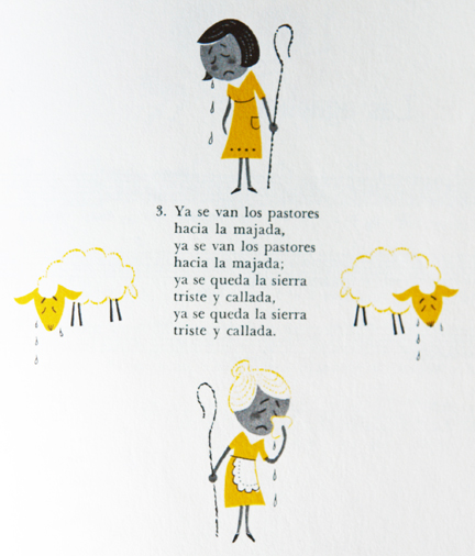 vintahe illustration of little girl and old woman holding crooks looking for their sheep